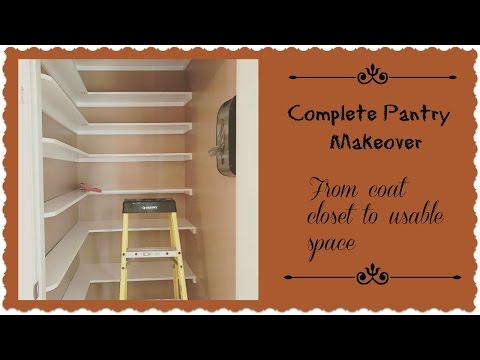 Complete Pantry Room Makeover ~ From coat closet to functional storage space