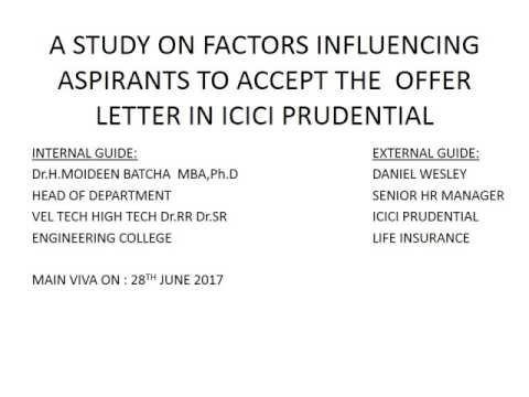 A Study on Factors influencing Aspirants to Accept The Offer Letter