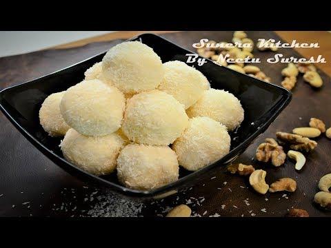 White Chocolate Coconut Truffles  | Homemade White Chocolate Coconut Ladoo | by Neetu Suresh