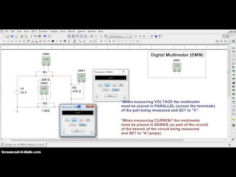 Multisim 12 - Place DMM to Measure Voltage and Current