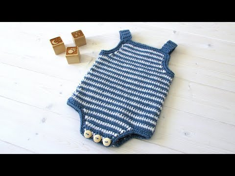 How to crochet a simple striped baby romper / onesie