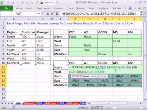 Excel Magic Trick 886: Two Way Lookup, List Names In Tabular Table (Row & Column Criteria)