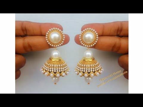 How Make Beautiful Silk Thread Pearl Drop Earrings At Home | DIY | Silk Thread Jhumkas Making