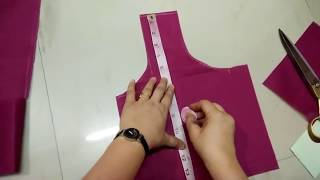 Simple blouse cutting, Easy steps in Hindi, सादा बिलाउज की कटिग का आसान तरीका
