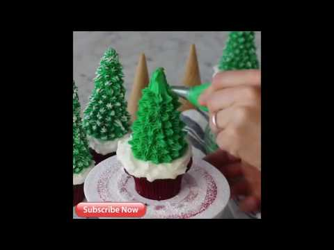Creative Ideas! Christmas Tree Cupcakes: How to Make  Christmas Tree Cupcakes! [EASY & FAST ]