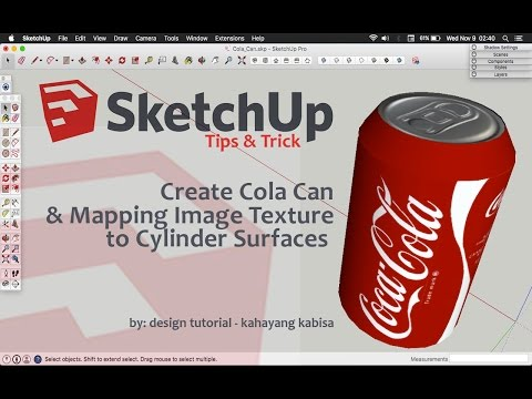 Sketchup Tutorial - Create Cola Can & Mapping Image Texture to Cylinder Surfaces