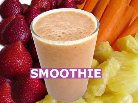 How To Make Pineapple Strawberry Banana Carrots Smoothie Fruit Milkshake Healthy Drink Recipe