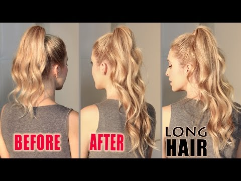 How to get LONG HAIR in 2 min WITHOUT extensions. ARIANA GRANDE hair tutorial