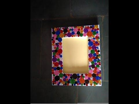 Beautiful photo frame    handmade photo frame   simple photo frame    glitter photo frame
