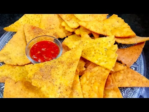 How to make Nacho chips (Nachos) at home | Corn tortilla chips | Nachos recipe without oven