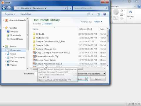 PowerPoint 2010 Open a File as Read-Only