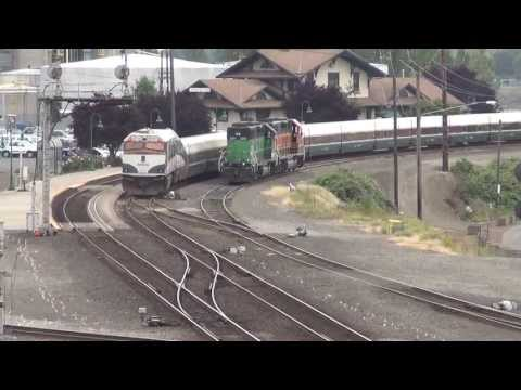 SBD Amtrak Cascade train arrives Vancouver, WA station 7/7/13