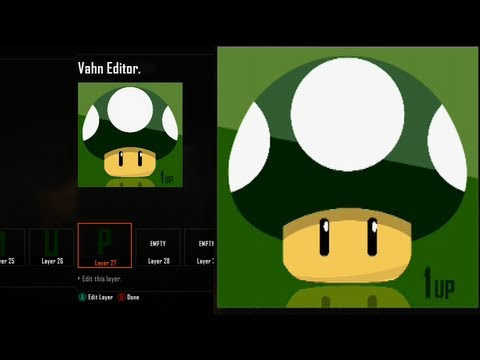 Call of Duty Black Ops 2 Emblem Editor Tutorials - Black Ops 2 - Best Green 1 UP Mushroom Reflecting Emblem Tutorial ( Super Mario Bros ) Playercard