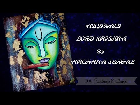 68 /100 Abstract Krishna Painting    How to use gold leaf    100 PAINTINGS CHALLENGE