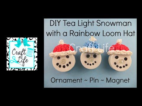 Craft Life DIY Tea Light Snowman Tutorial with a Hat made on a Rainbow Loom