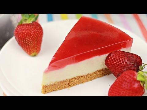 Strawberry Jelly Tofu Cheesecake - Christmas - Recipe By ZaTaYaYummy