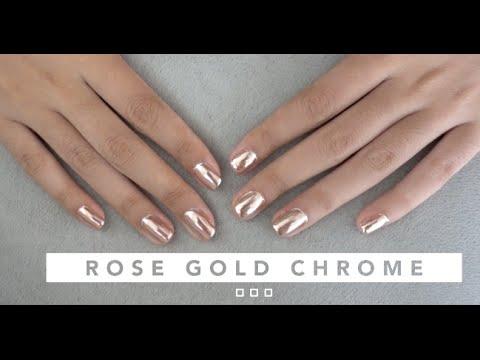 ROSE GOLD CHROME GEL NAIL TUTORIAL | ON NATURAL NAILS