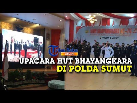 Detik-detik Upacara HUT Ke 74 Bhayangkara di Polda Sumut