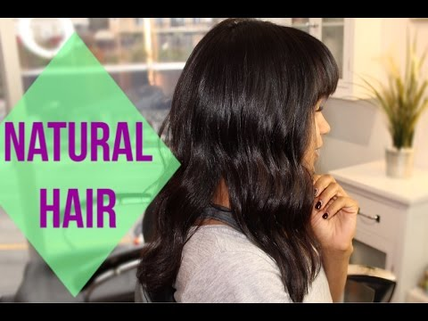 Natural/Curly Hair Blown Out + Cutting BANGS!