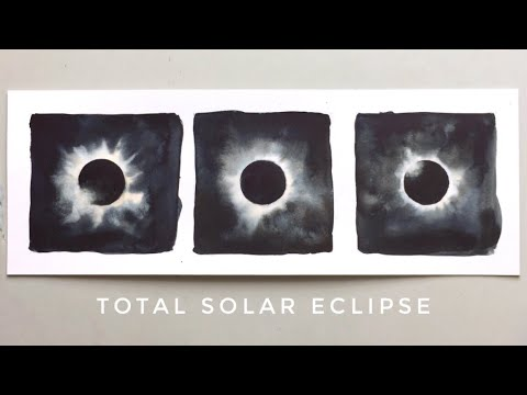 total solar eclipse - watercolor painting