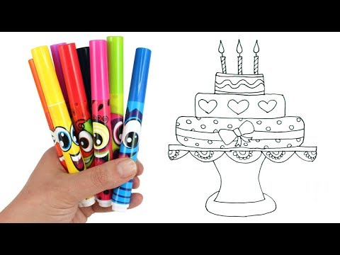 How to Draw a Birthday Cake | Drawing & Coloring a Cake with Scentos Scented Makers