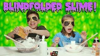 BLINDFOLDED SLIME CHALLENGE!!! How To Make Super Messy Slime!