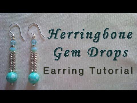 Herringbone Gem Drop Earring Tutorial