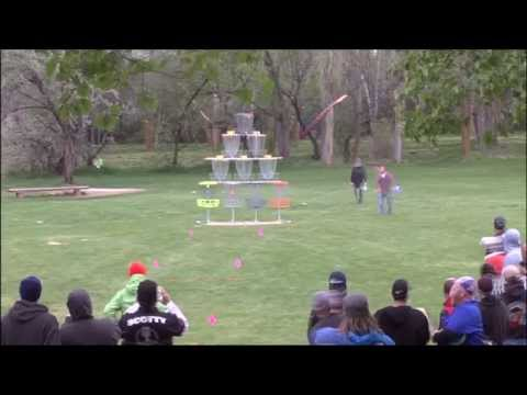 The Disc Golf Basket Pyramid Shot