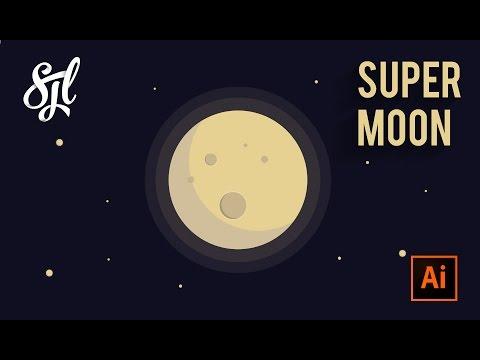 Supermoon illustration   Adobe illustrator CC