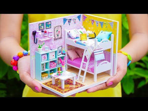 DIY Miniature Doll House Bunk Bed Bedroom *NEW*