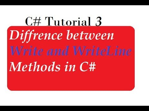 Difference Between Write and WriteLine Methods in C#