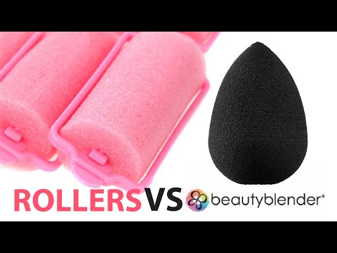 Beauty Blender Sponge Showdown with HAIR ROLLER DIY DUPE! WHY NOT! FLAWLESS FOUNDATION MAKEUP HACK?