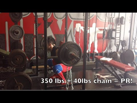 Powerlifting Training: Squats w/ Chains + Pause Bench Press 10-6-13
