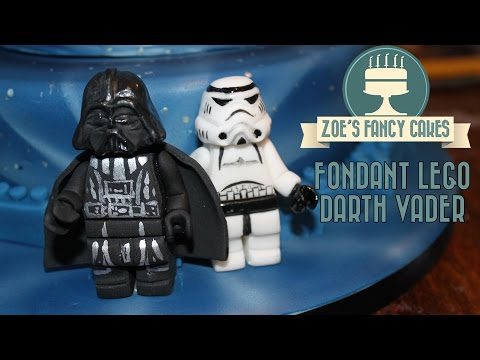 Fondant lego Darth Vader birthday cake topper How To Cake Tutorial