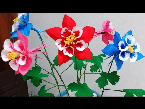 How to make Paper Flowers Columbine \ Aquilegia (Flower # 81)
