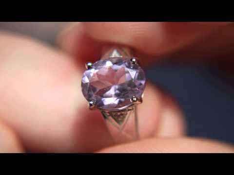 Amethyst Ring #0197 Size US 6 1/4 & UK M  - Sterling Silver Plated with White Gold
