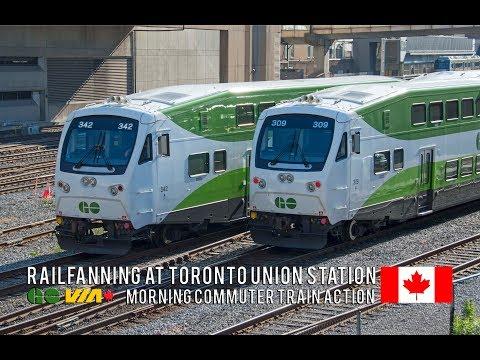 4K - Morning Rush Hour Trains at Toronto Union Station - GO, VIA, UP Express & Amtrak Trains