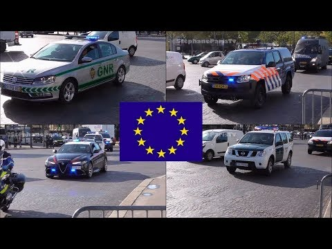 Rare catch in Paris: 5 European police force in Paris.