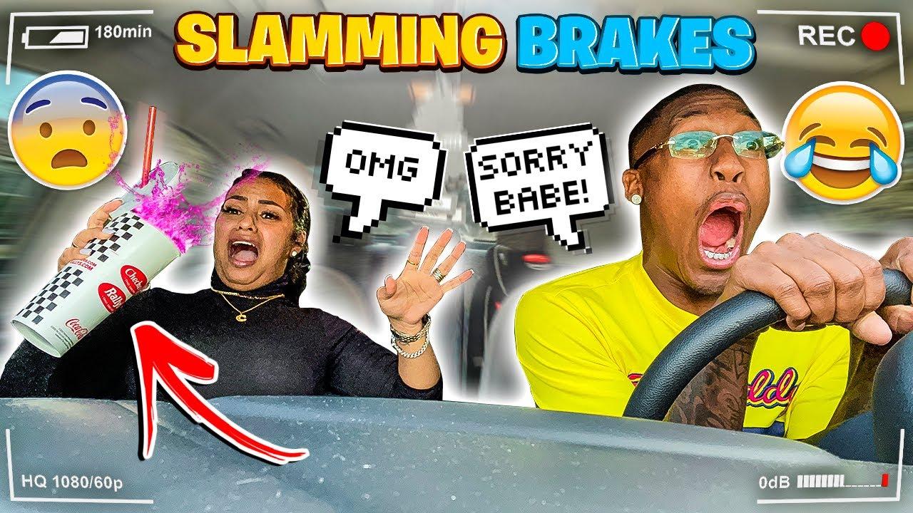 SLAMMING THE BRAKES PRANK ON WIFE!