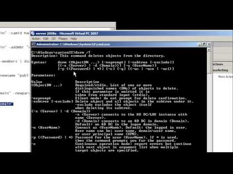 Windows Server 2008: command line for Active Directory groups