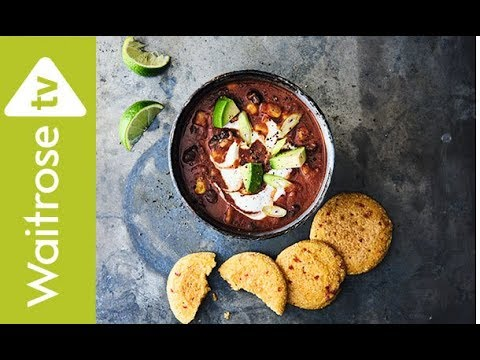 Black Bean And Corn Soup With Chilli Cornbread Fritters | Waitrose