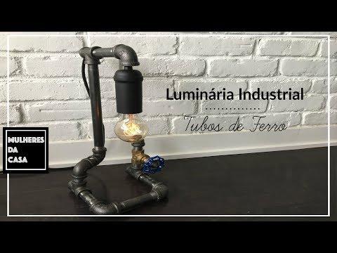 Luminária Industrial de Tubos de Ferro / Industrial Pipe Desktop Lamp