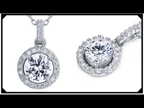 Round Brilliant Synthetic Diamond Pendant White Gold plated Silver 925 Best price
