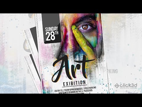 Art Exibition Poster Design Tutorial | Photoshop Tutorial | click3d