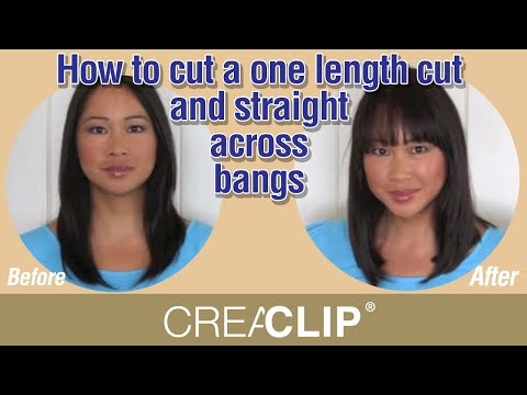 How to cut a one length cut and straight across bangs.