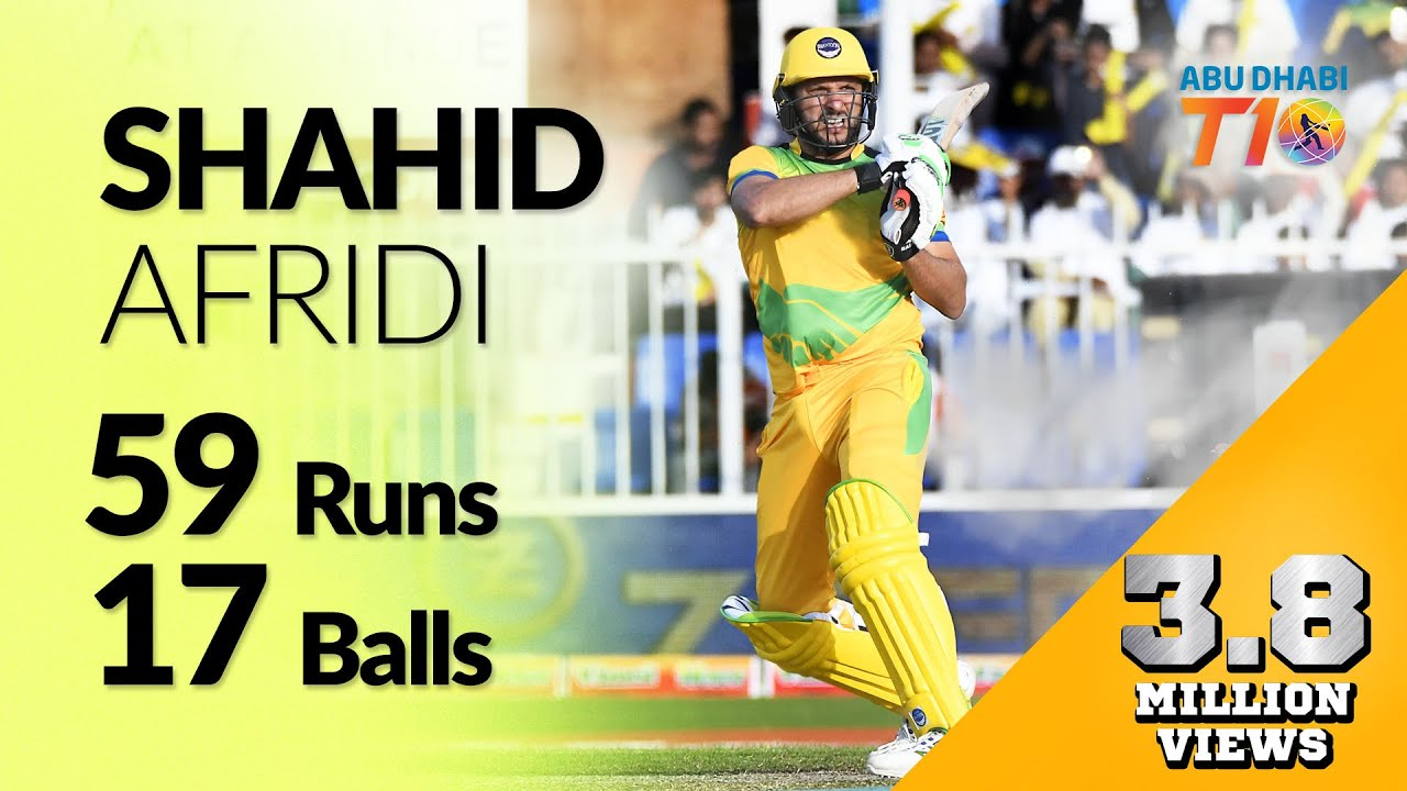 Shahid Afridi' s blistering 57 from 17 balls in Qualifier I T10 League Season 2 I 2018