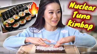 Download NUCLEAR TUNA KIMBAP SUSHI ROLL COOKING RECIPE! 불참치 김밥 | Authentic Korean Cooking Video