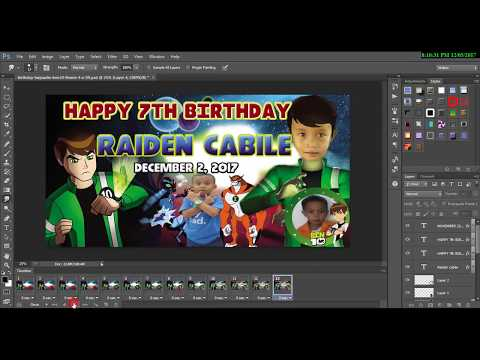 Animation Tutorial using Tarpaulin  Birthday Design and save to GIF on Photoshop
