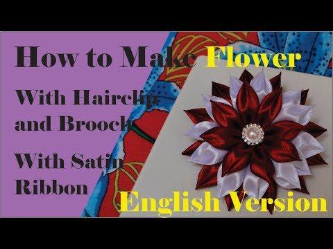 Kanzashi, kanzashi flower how to make, hair clip flower, brooch flower, kanzashi flower hairclip