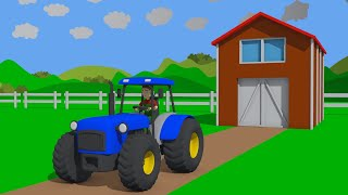 Blue Tractor & Agricultural machinery carousel🚜 Tractor and Farm Simulation  - Song Kids in Love👱‍♀️
